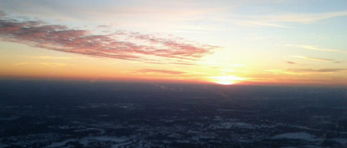 Picture of a sunrise over Blaine, MN at 3500 feet